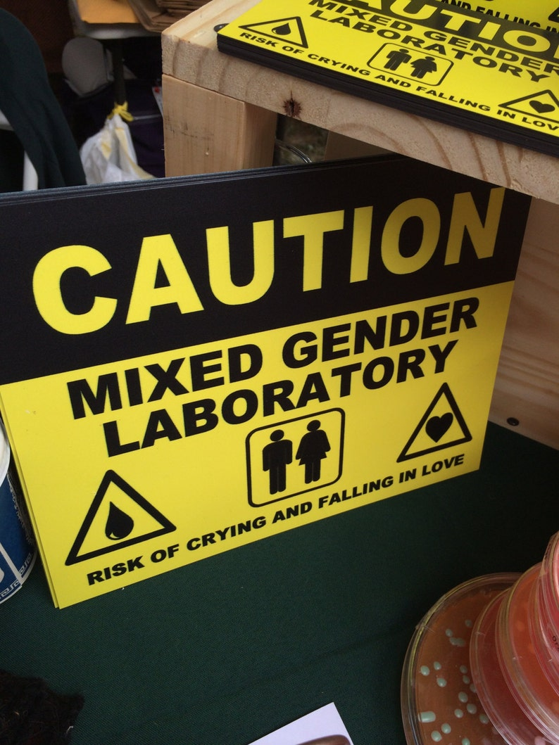 Mixed Gender Laboratory Caution Signs image 0
