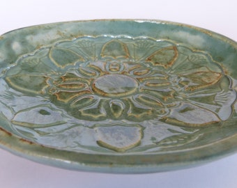 Blue Green Pottery Trinket Dish Jewelry Bowl Ring Dish Gift