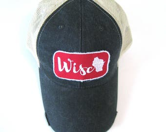 6d970bcdd03 Wisconsin Hat - Black Distressed Snapback Trucker Hat - Wisco Patch