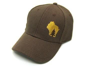 ec00026fea237 Wisconsin Hat - Brown Snapback - pine tree in wisconsin gold state