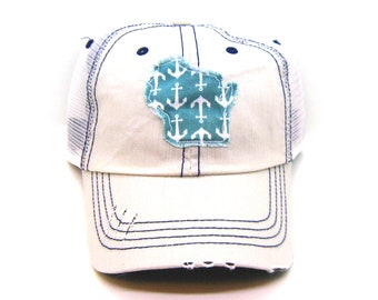 62a1f90f4e6e4 Wisconsin Hat - Putty White Distressed Trucker Hat - Aqua Anchor Applique -  All United States Available