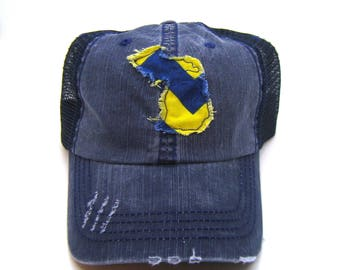 Michigan Hat - Navy Blue Distressed Trucker Hat - Blue Gold Chevron  Applique - All United States Available 08ceafe3a0a7