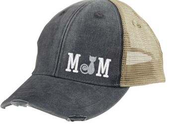 6130b920f7f95 Cat Mom Distressed Snapback Trucker Hat - off-center