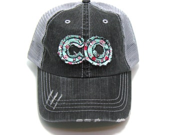 dd914a52fc744 Colorado Hat - Distressed Trucker Hat - Floral Fabric - Many Fabric Choices