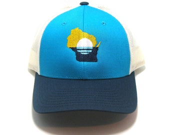 2ab104d9cfaeb People s Flag of Milwaukee Hat - Teal and Navy Snapback Trucker Hat