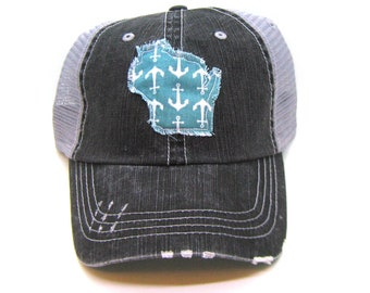 a1c3648109a Wisconsin Hat - Black and Gray Distressed Trucker Hat - Aqua Anchor  Applique - All United States Available