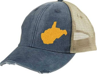 659a59c77d7 West Virginia - Distressed Snapback Trucker Hat - off-center state pride hat  - Pick your colors