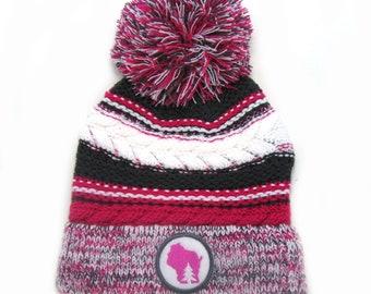 2e7fe1d3d19 Wisconsin Beanie - Pink Gray White Pom Pom Hat
