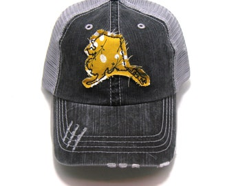 9d80a8c9 Alaska Hat - Distressed Trucker Hat - Floral Fabric - Many Fabric Choices