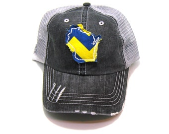 5cf3fe9e22bab Wisconsin Hat - Gray Distressed Trucker Hat - Royal and Yellow