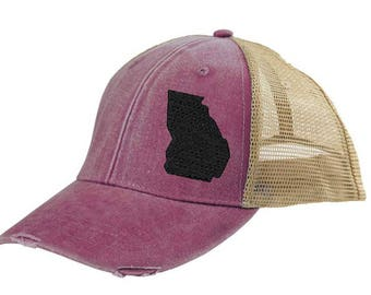 688f4847633 Georgia Hat - Distressed Snapback Trucker Hat - off-center state pride hat  - Pick your colors