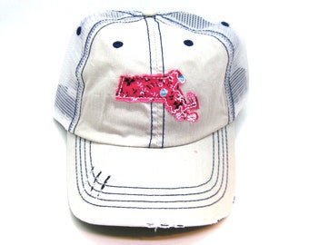 867c1742bb2 Massachusetts Hat - Distressed Trucker Hat - Floral Fabric - Many Fabric  Choices