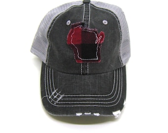 551f6b586d6 Wisconsin Hat - Gray Distressed Trucker Hat - Red Buffalo Check