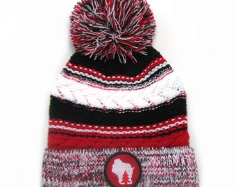 38cc01f81c7 Wisconsin Beanie - Red Black White Pom Pom Hat