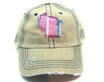 5dabf9f4151 Clearance - Ready to Ship - Tan Hat - Plaid Wisconsin