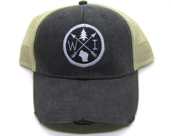 5639a374f5529a Wisconsin Hat - Black Distressed Snapback Trucker Hat - Wisconsin Patched  Arrow Compass