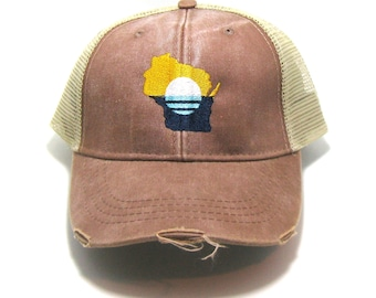 89b6f1e65cf73 People s Flag of Milwaukee Hat - Mud Brown Distressed Snapback Trucker Hat