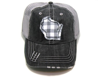 Wisconsin Hat - Gray Distressed Trucker Hat - Gray Buffalo Check b4ea0d8f9486