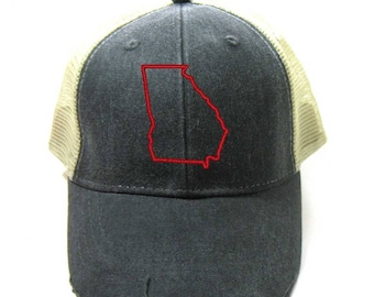 51cc8c59f58 Georgia Hat - Distressed Snapback Trucker Hat - Georgia State Outline -  Many Colors Available