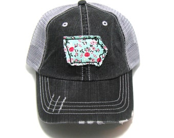 Iowa Hat - Distressed Trucker Cap - Many Fabric Choices
