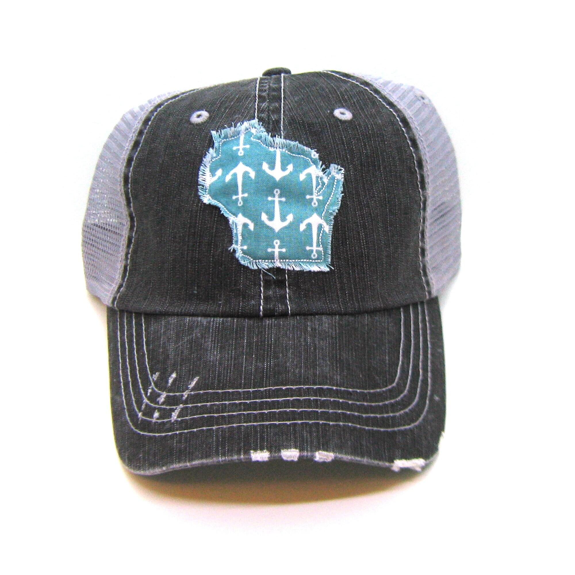 f848fd8e50549 Wisconsin Hat Black and Gray Distressed Trucker Hat Aqua