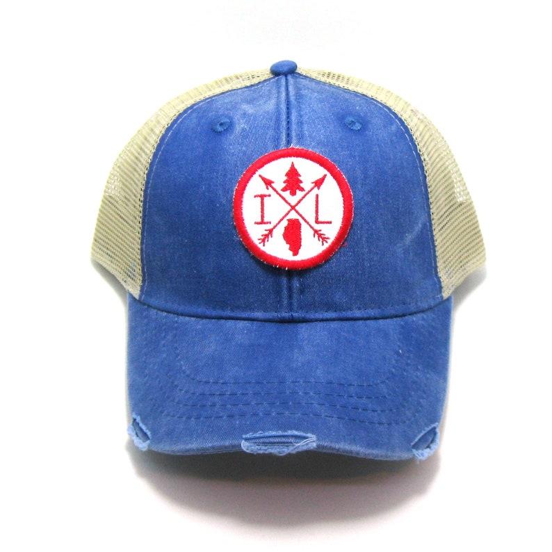da35d9c7 Illinois Hat Distressed Snapback Trucker Hat Illinois   Etsy