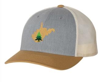 West Virginia Pine Tree Hat - Mustard and Gray