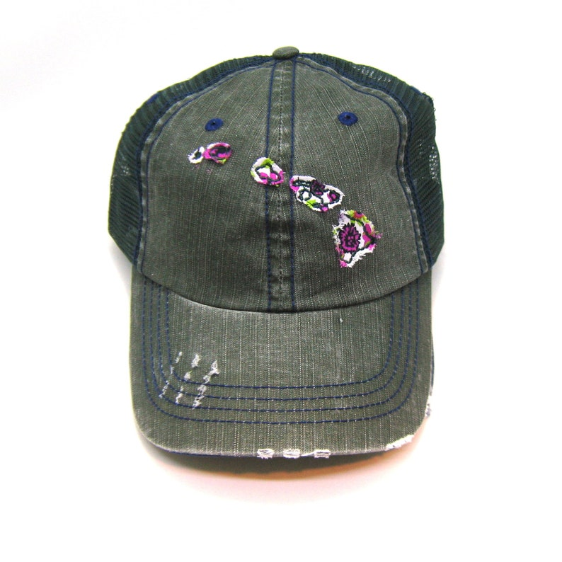 46c0e26e7757ae Hawaii Hat Distressed Trucker Hat Floral Fabric Many   Etsy