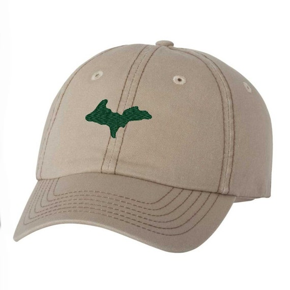 468f2a9f53a86 Michigan UP Hat Classic Dad Hat Green and Khaki