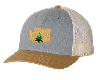 Washington Pine Tree Hat - Mustard and Gray