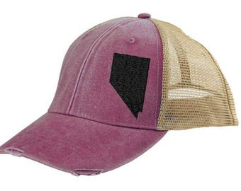 Nevada Hat - Distressed Snapback Trucker Hat - off-center state pride hat - Pick your colors