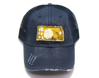 Kansas Hat - Distressed Trucker Cap - Many Fabric Choices