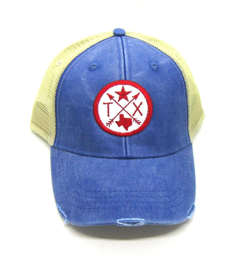 cb871087 Texas Hat Royal Blue Distressed Snapback Trucker Hat Texas   Etsy