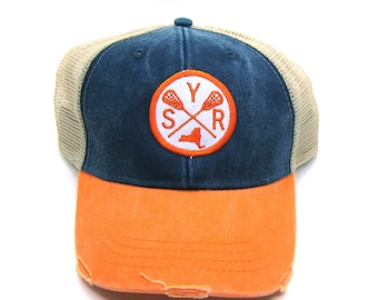Syracuse Lacrosse Hat - Navy and Orange Distressed Snapback Trucker Hat - New York Arrow Compass Patch