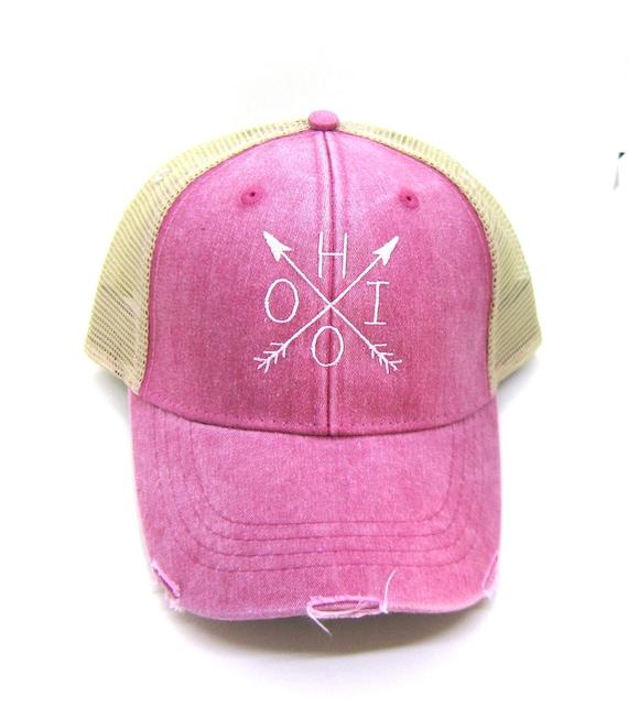 6f17cf6e Ohio Hat Red Distressed Snapback Trucker Hat Ohio Arrow   Etsy