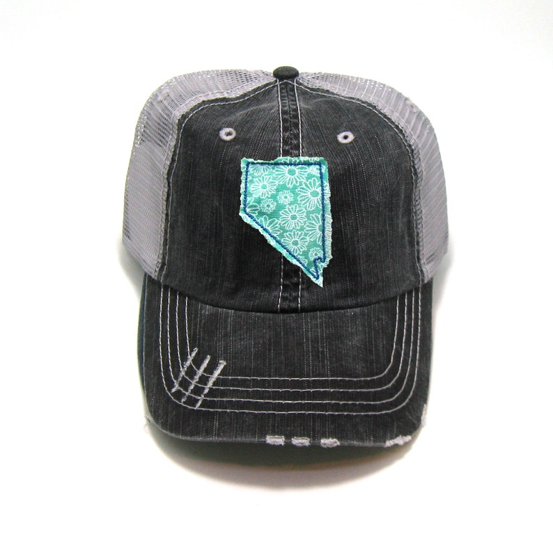 e9013133 Nevada Hat Distressed Trucker Hat Floral Fabric Many   Etsy