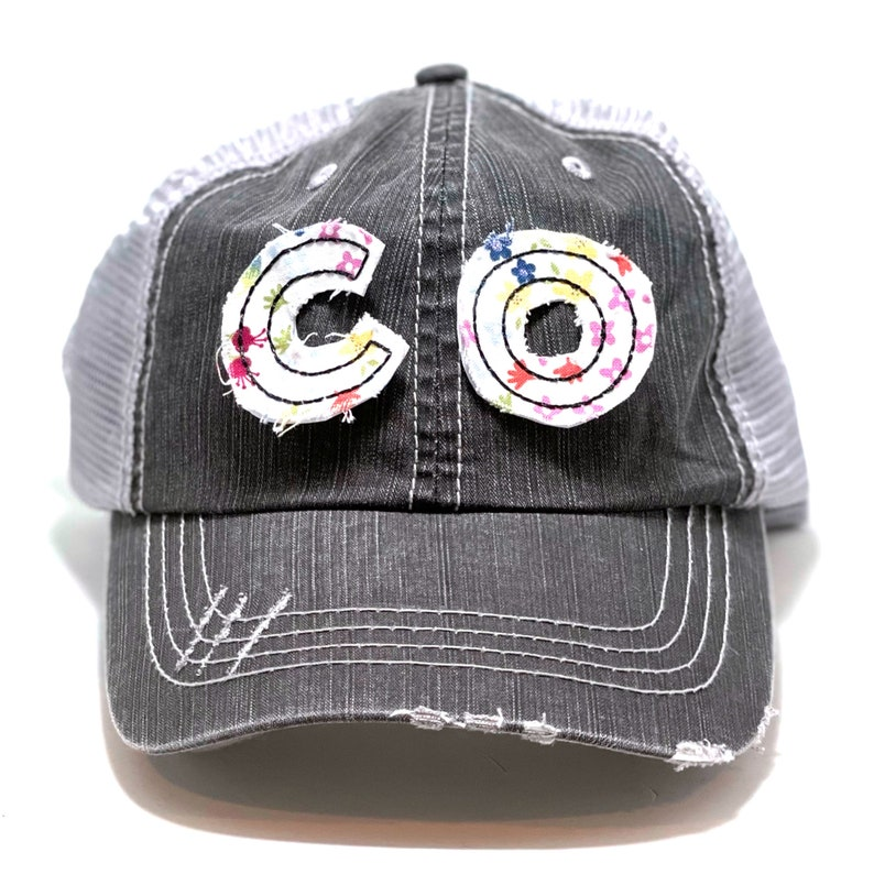 Many Fabric Choices Distressed Trucker Cap Colorado Initials Hat