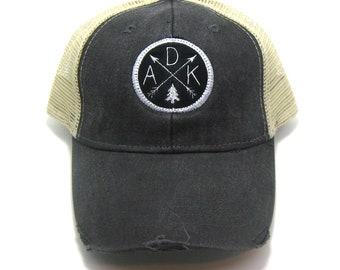 Adirondacks Hat - Distressed Snapback Trucker Hat - ADK Arrow Compass