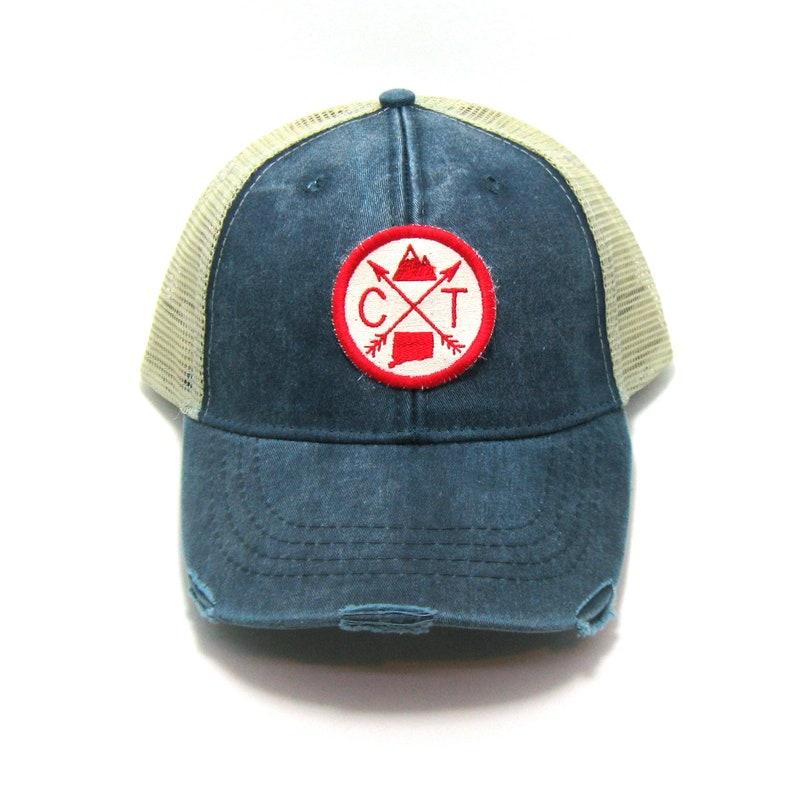 beff4486 Connecticut Hat Distressed Snapback Trucker Hat   Etsy