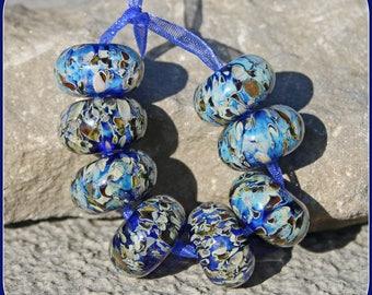 Silver Blue lampwork bead set