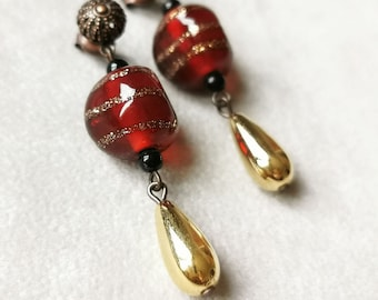 Vintage Italian lampwork glass earrings, gold Lucite drop earrings, red dangle earrings, antiqued copper earrings, Christmas gift for her
