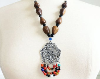 Boho statement necklace, one of a kind vintage lampwork glass necklace, long necklace, bohemian wooden necklace,  Christmas gift for her