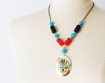 Turquoise Red Black Silver necklace, beaded pendant necklace, Vintage Tribal statement necklace, Anniversary gift, Mother's Day gift
