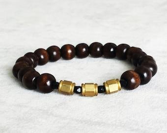 Wood and brass men stacking bracelet, original gift for him, mens bracelets, anniversary gift for boyfriend, gift for husband