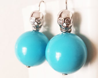 Turquoise Vintage Lucite earrings, Sterling Silver skull earrings, PinUp Rockabilly jewelry, alternative blue dangle earrings, gift for her