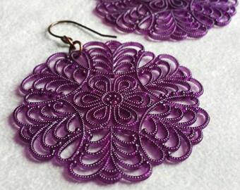 Amethyst large Boho filigree statement earrings, Vintage chandeliers, colorful Bohemian earrings, Valentine's gift for her
