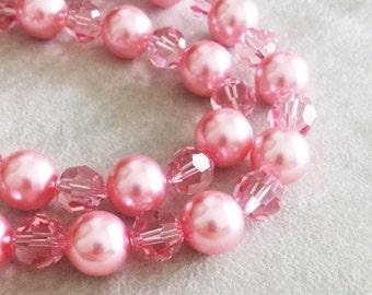 Swarovski Perlen rosa rose Perlen Strang Kette, Jahrestagsgeschenk für Frau, Geschenk für Mutter, Geschenk für sie, aussagenhalskette, Muttertag