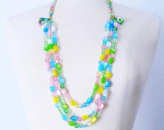 Multi-Strang-Kristall Perlen Halskette, Swarovski Schichtung statementkette, bunte Halskette, Geschenk für Frau, Abschlussgeschenk