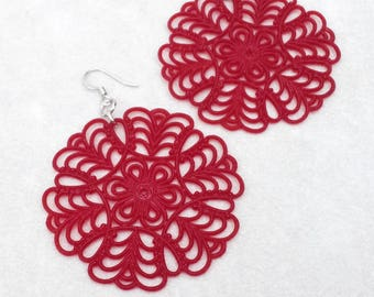 Vintage Boho Red statement earrings, Large Lucite filigree earrings, Mother's day gift, colorful Bohemian earrings, lightweight earrings