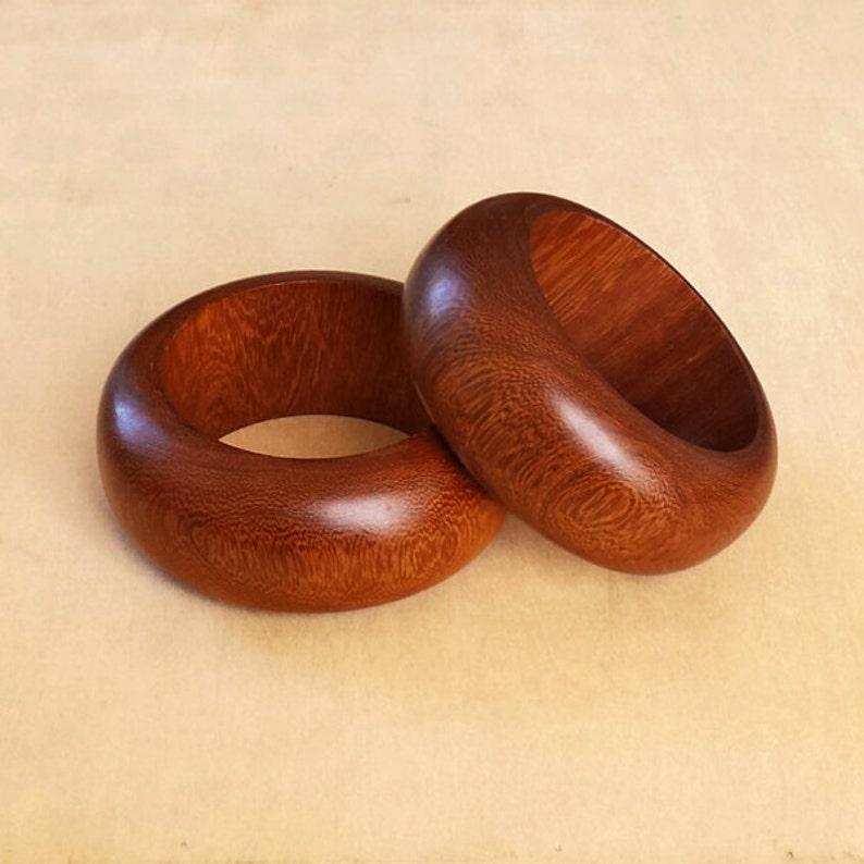 Stackable wood bangle vintage chunky natural wood bracelet image 0